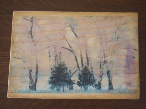 Trees on wood; 3 1/2 x 5; $20