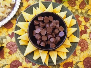 Pineapple petals with mini-Reeses at center.
